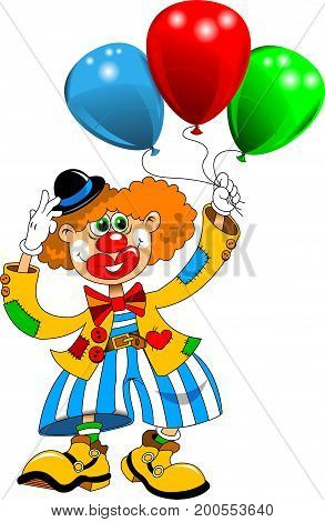Cheerful clown walking with balloons on white background vector illustration