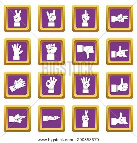 Hand gesture icons set in purple color isolated vector illustration for web and any design