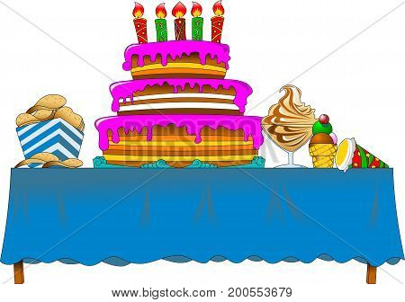 banquet table with cake and sweets (vector illustration)