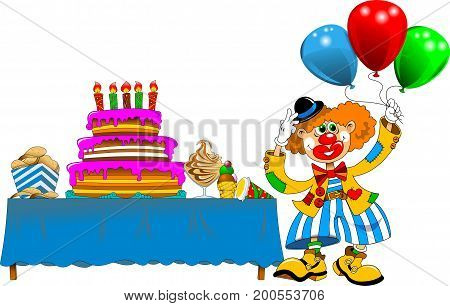 clown came to visit the children (vector illustration)