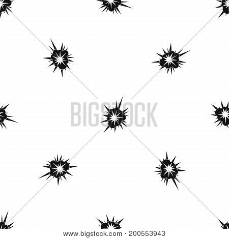 Nucleate explosion pattern repeat seamless in black color for any design. Vector geometric illustration