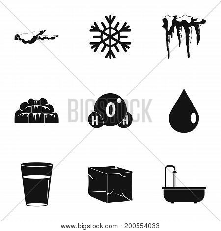 Natural water form icon set. Simple set of 9 natural water form vector icons for web isolated on white background