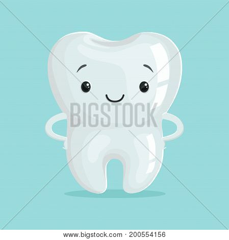 Cute healthy white cartoon tooth character, childrens dentistry concept vector Illustration on a light blue background