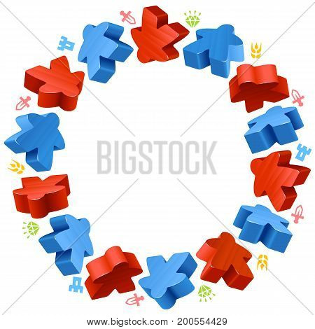 Circle frame of meeples for board games. Red and blue game pieces, and resources counter icons isolated on white background. Vector border for design boardgames advertisement