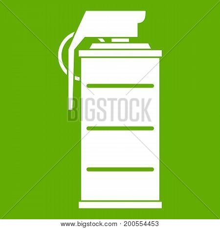 Stun grenade icon white isolated on green background. Vector illustration