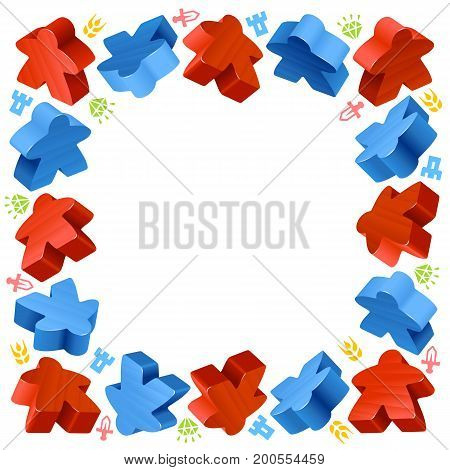 Square frame of meeples for board games. Red and blue game pieces, and resources counter icons isolated on white background. Vector border for design boardgames advertisement