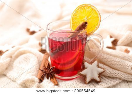 hot drink with spices for christmas