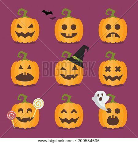 Set of Halloween pumpkins. Funny cartoon emoticons