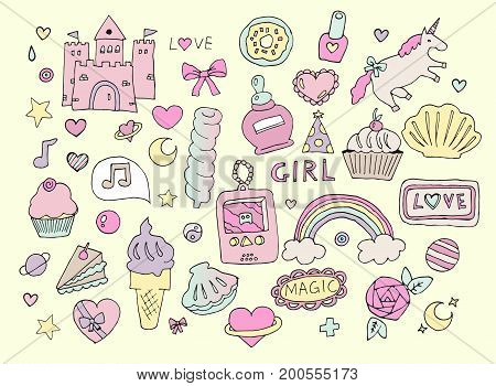 Fashion girl stickers set.Little princess magic collection. Set of kawaii stickers, pins, patches.Vector