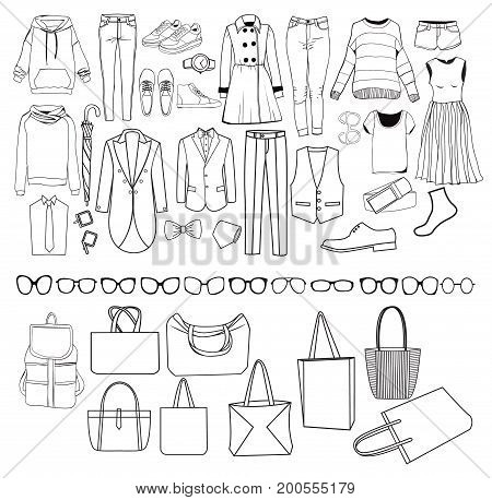 Set of Fashion collection of Vector illustration man and woman clothes and accessories elements collection sketches outlines Fashion Collection Of Clothes Female and male