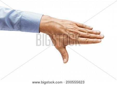 Man's hand in a shirt closes something isolated on white background. Close up. High resolution product