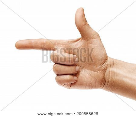 Man's hand points a finger at something isolated on white background. High resolution product. Close up