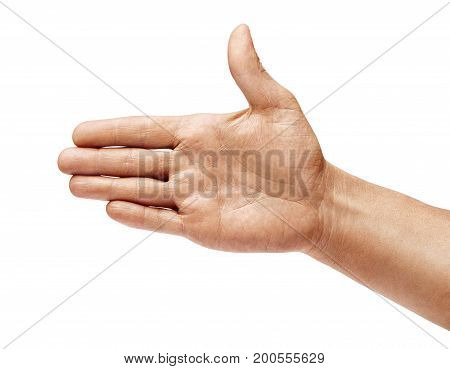 Man's hand outstretched in greeting isolated on white background. Close up. High resolution