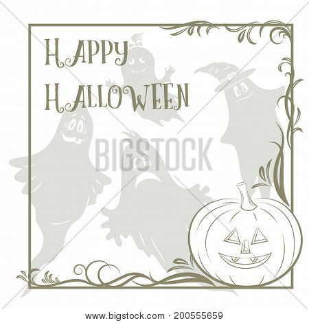 Background for Holiday Halloween Design, Cartoon Ghosts Silhouettes and Pumpkin Jack O Lantern Contours. Vector