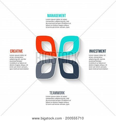 Business data visualization. Abstract element of cycle diagram with 4 steps, options, parts or processes. Vector business template for presentation. Creative concept for infographic. Process chart.