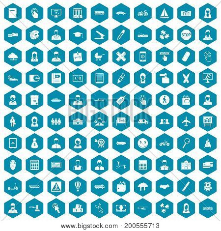 100 initiation icons set in sapphirine hexagon isolated vector illustration