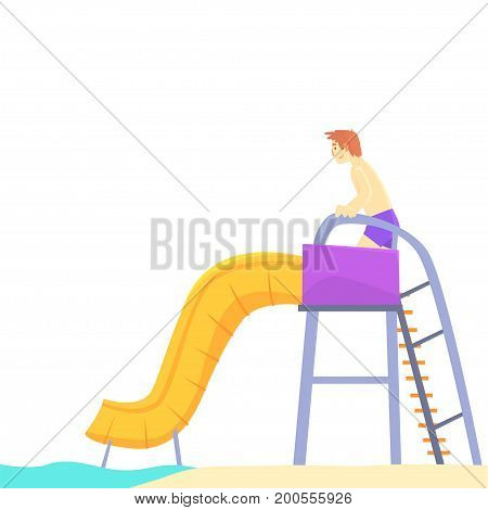 Young man having fun on a water slide in a water park in summer vacation cartoon vector Illustration on a white background