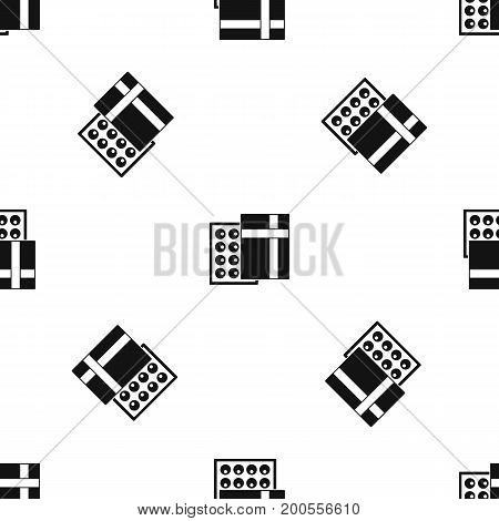 Box with chocolates pattern repeat seamless in black color for any design. Vector geometric illustration