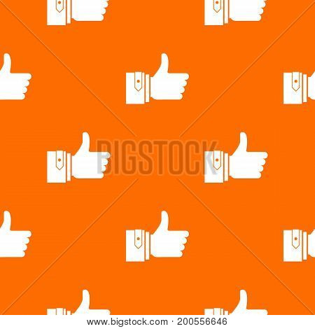 Thumbs up pattern repeat seamless in orange color for any design. Vector geometric illustration