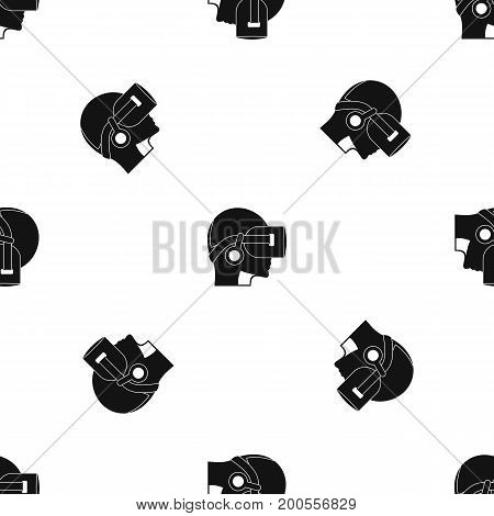 Vr headset pattern repeat seamless in black color for any design. Vector geometric illustration