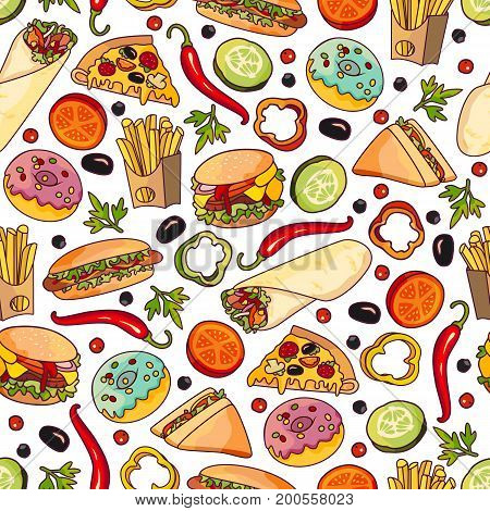Vector fast food seamless pattern. burger pizza slice, roll doner kebab potato fry sandwich donut vegetables objects. Fast food flat cartoon isolated illustration on a white background.