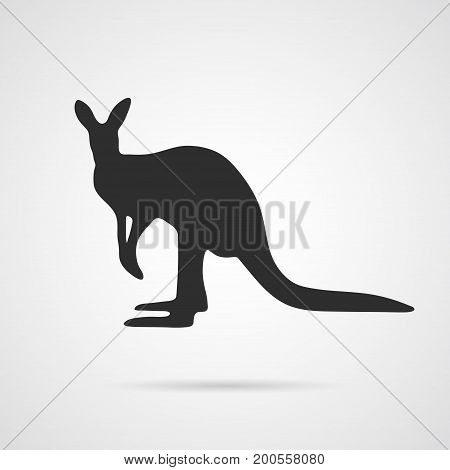 Vector Gray Silhouette of Kangaroo. Element for World Environment Day, and other animal and ecology projects. Kangaroo Icon