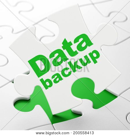 Information concept: Data Backup on White puzzle pieces background, 3D rendering