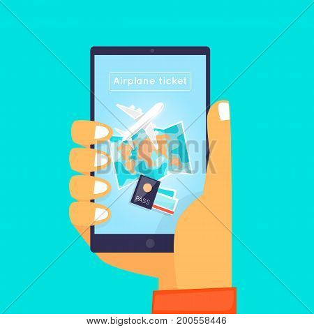 Booking of airplane tickets online. Hand holding phone. Flat design vector illustration.