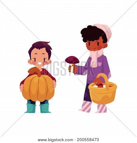 vector girls character set. Boy keeping big pumpkin, girl collecting mushrooms in autumn clothing. cartoon isolated illustration on a white background. Autumn kids activity