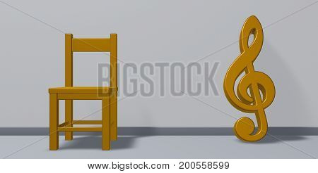 clef symbol and chair - 3d rendering