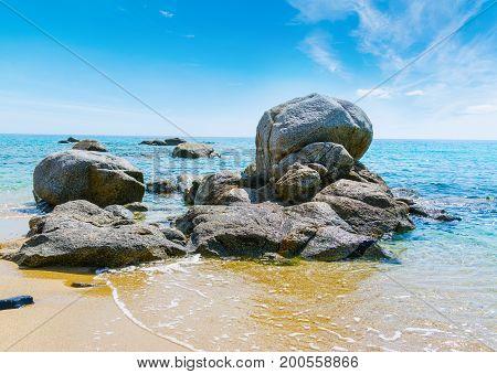 Rocks in Porto sa Ruxi shoreline. Sardinia Italy