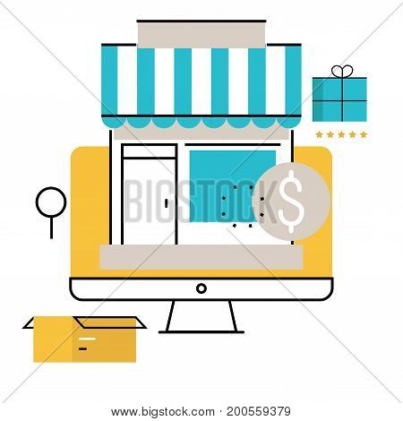 Online shopping, online order and payment, e-commerce, purchasing online, delivery process flat line vector illustration design for mobile and web graphics