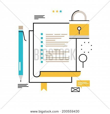 Digital data security flat line vector illustration design for mobile and web graphics. Data protection concept