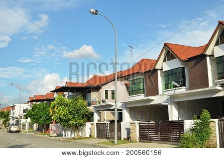 Row Of Two Storey Newly Built Terrace House