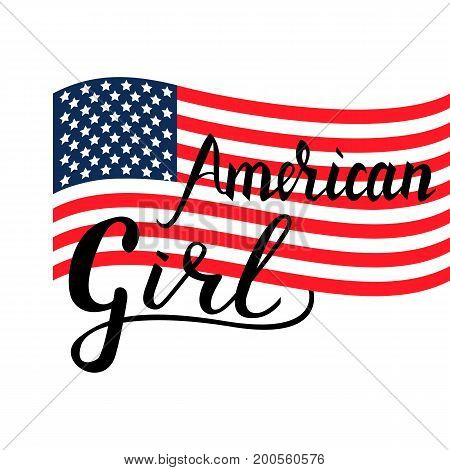 Inscription brush American girl isolated on white background