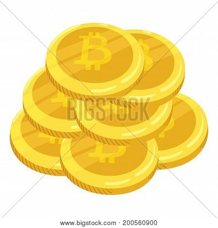 Golden bitcoin digital currency. A stack of coins bitcoin. Gold stack of bitcoins cryptocurrency coins. Mining. Vector icon.