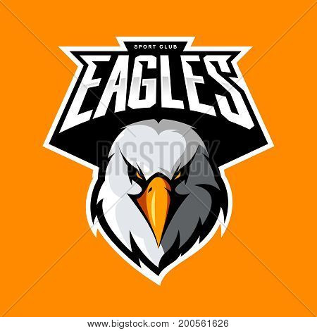 Furious eagle head athletic club vector logo concept isolated on orange background.  Modern sport team mascot badge design. Premium quality bird emblem t-shirt tee print illustration.