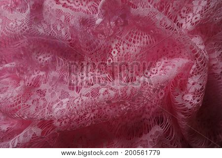 Rich Pink Thin Guipure Lace In Folds