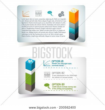 Banners with infographics elements including information icons and 3d column from geometric forms isolated vector illustration