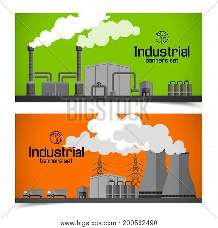 Industrial horizontal banners with factory chimneys smoke harmful emissions pipes truck lines of electricity transfer vector illustration