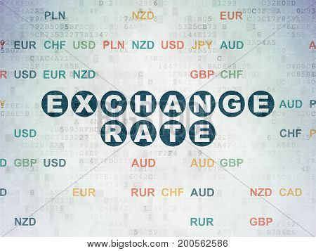 Currency concept: Painted blue text Exchange Rate on Digital Data Paper background with Currency