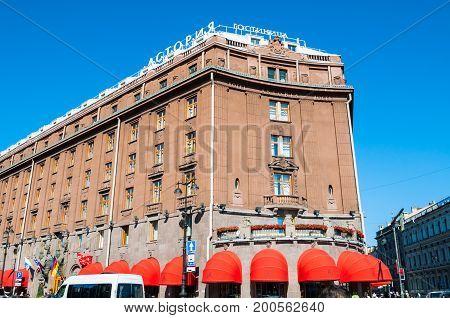 ST PETERSBURG RUSSIA - AUGUST 15 2017. Famous Astoria hotel at Bolshaya Morskaya street in St Petersburg Russia in sunny day. Architecture view of St Petersburg Russia landmark