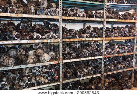 Old engine parts in a car breakers shelf