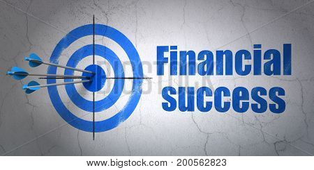 Success money concept: arrows hitting the center of target, Blue Financial Success on wall background, 3D rendering
