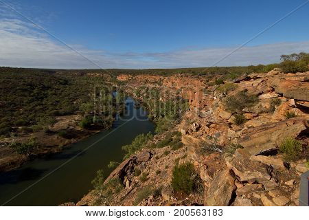 Scenic View Of Kalbarri National Park Against Cloudy Sky