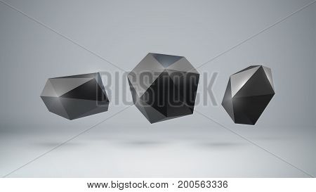 3d black polygonal shapes. Stone or rock graphite coal. Low poly element for design. Stone or speech bubble imitation. Vector illustration