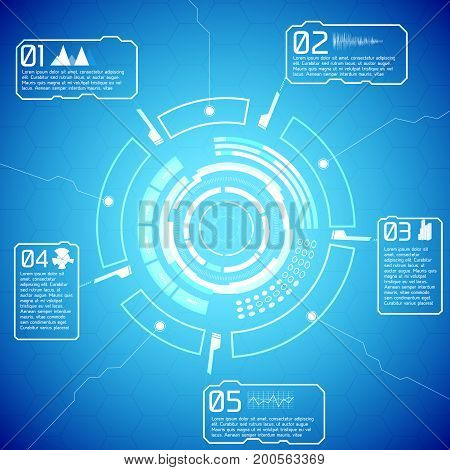 Digital futuristic interactive infographics with tech display text and icons on blue background vector illustration