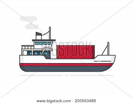 Shipping container via ship vector illustration line outline style, flat cartoon vessel or boat transporting cargo container isolated on white, idea of logistics, freight transportation