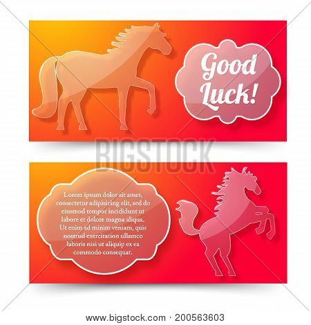Happy new year of horse banners set with good luck wishing and jumping horse symbols flat vector illustration