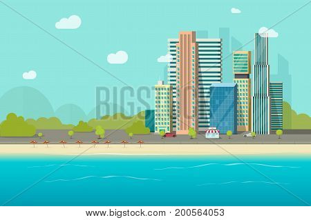Big city near ocean beach vector illustration design, flat cartoon high city skyscraper buildings from sea view, modern town landscape, urban cityscape or shore